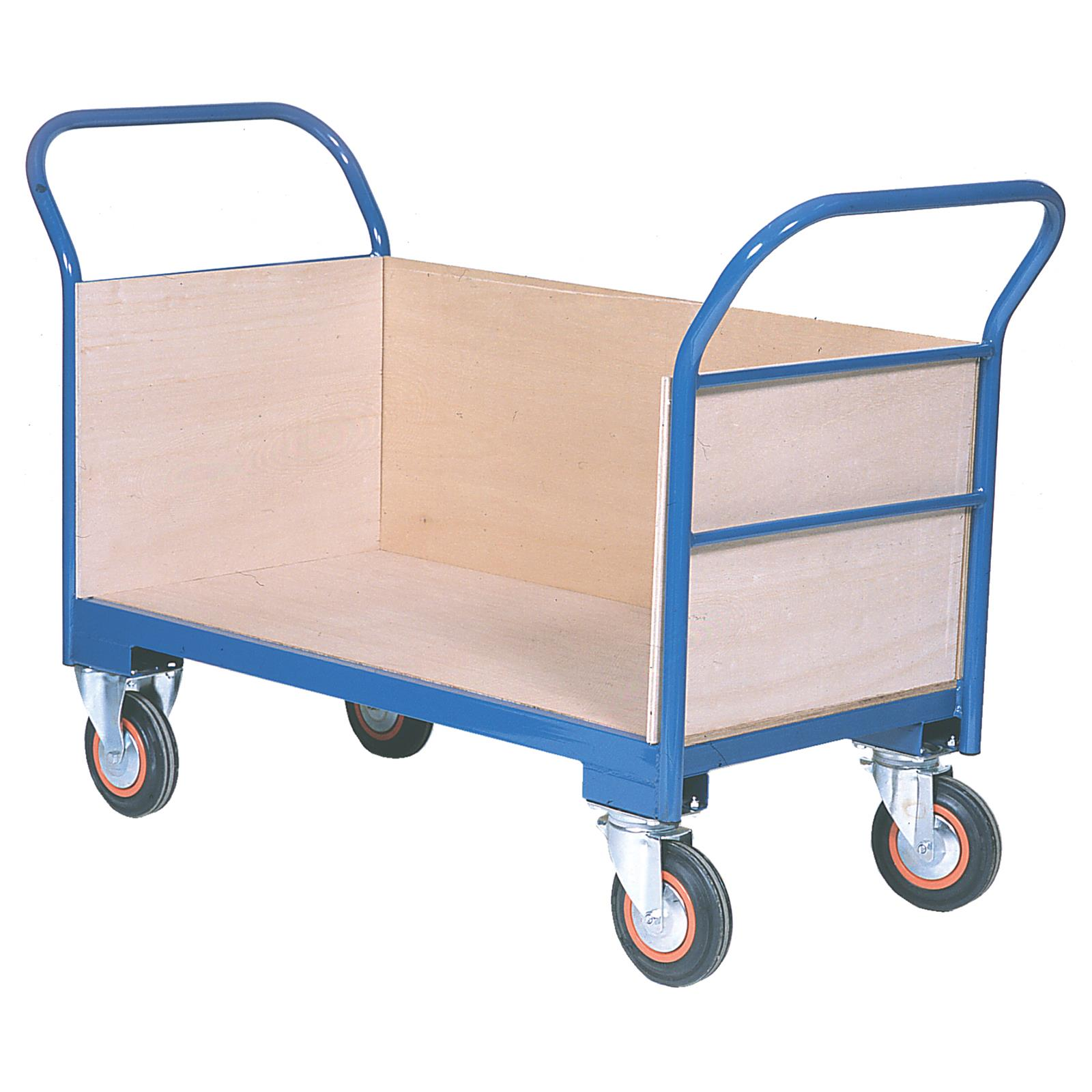 Warehouse Trolley Twin-Handled With Wooden Ends & One Side