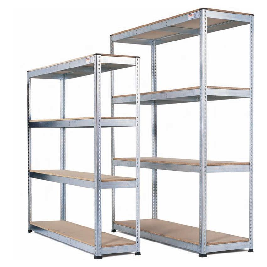 Galvanised Heavy Duty Warehouse Shelving with chipboard shelves