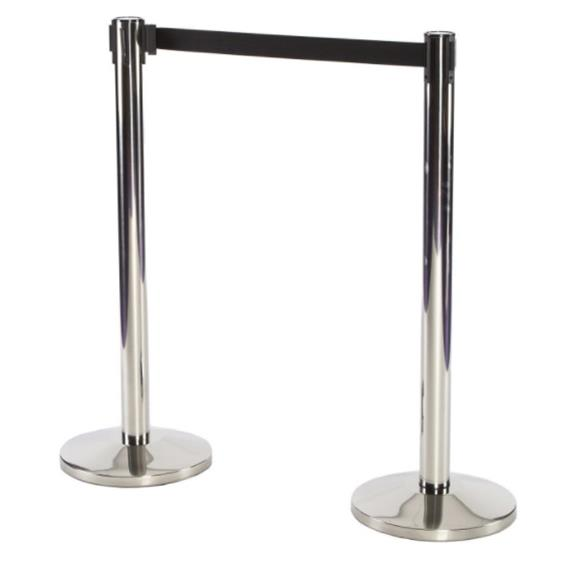 IN STOCK Chrome Queue Barrier With Black Webbing