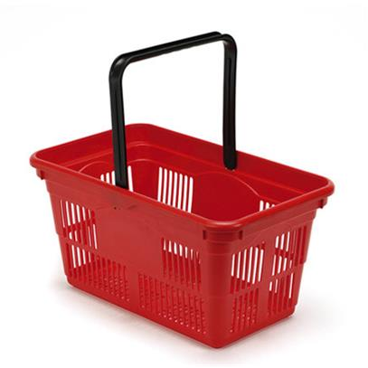 Plastic Shopping Baskets 10-Pack - Red
