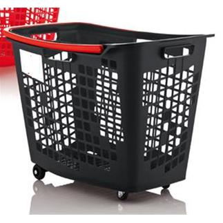 Trolley Shopping Basket Black With Red Handle 55 Litre 7-Pack