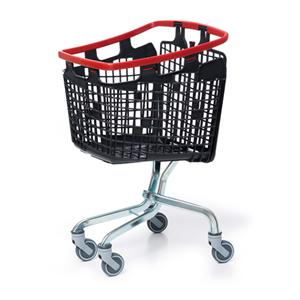 Plastic Shopping Trolley 100 Litre - Red Handle