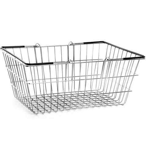 Wire Shopping Basket Black Handles - 10 Pack
